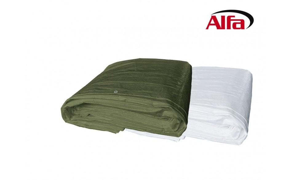 Alfa Gewebeplanen 150 Wetterschutzplanen in olivgrün und weiß-transluzent